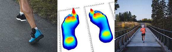Left image: Person running with insole sensors in his shoes; Middle image: Pressure data from gait & plantar footprint; Right image: Person running towards camera with face mask on across a bridge.
